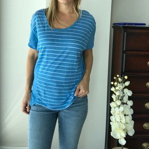 Vince 100% linen blue and striped top